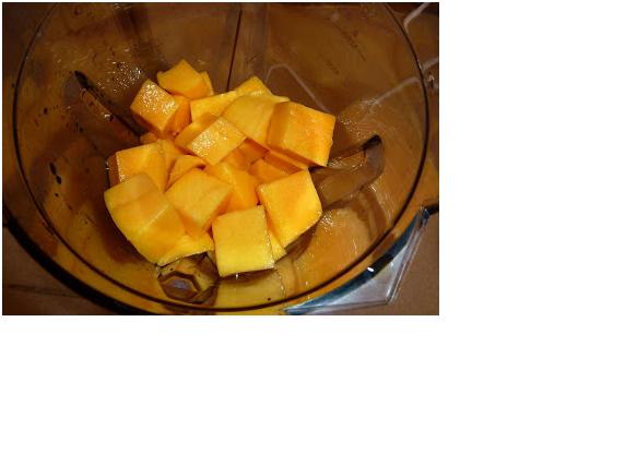 Amras khandavi mango pieces in mixer