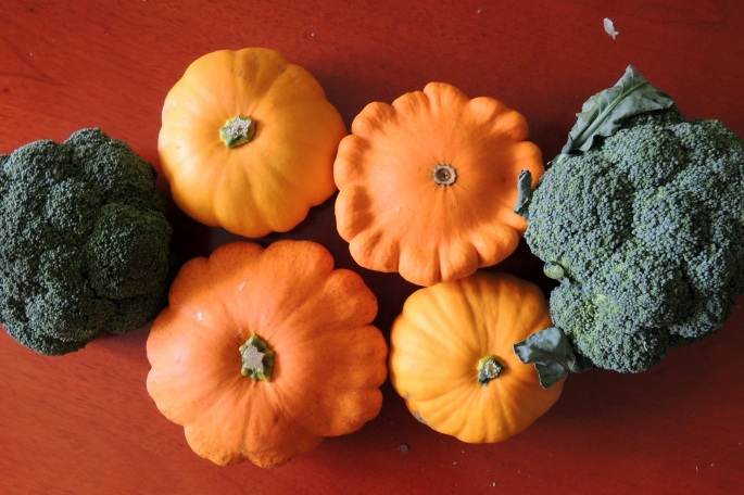 Pumpkin brocoli shapes